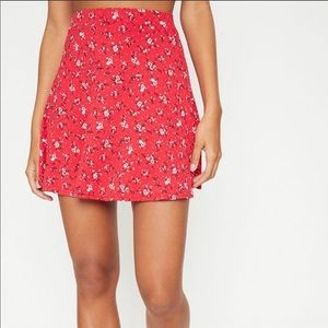 Red ditsy floral skirt